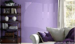 Ahora la misma pared lila, con lilas más claros y una serie de naranjas rositas =)