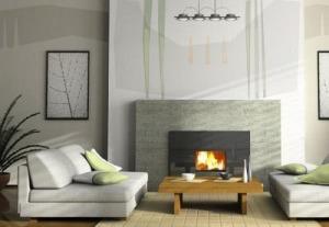 Diseño de interiores-Diseño mural en colores neutros, verde y naranja